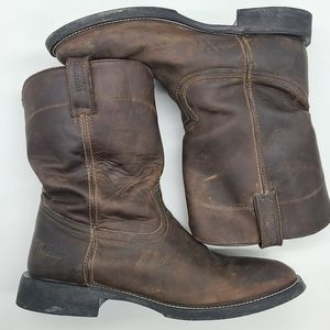 Rugged  Country Work Cowboy Leather Boots